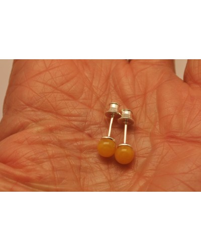 Antique round beads Baltic amber earrings