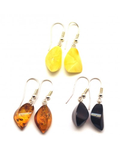 Lot of 3 faceted Baltic amber earrings