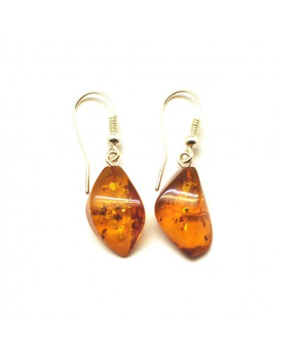 Cognac faceted Baltic amber earrings