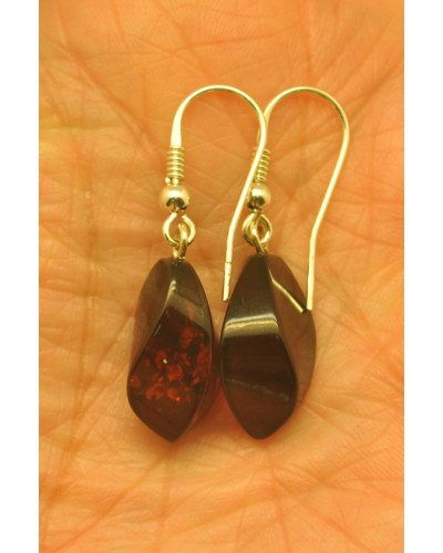 Cherry faceted Baltic amber earrings