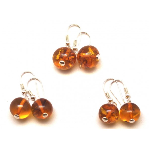 Amber earrings | Lot of 3 cognac round Baltic amber earrings