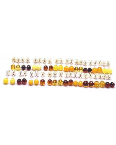 Lot of 20 round beads Baltic amber earrings