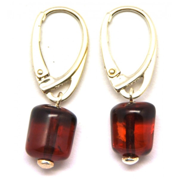 Barrel shape cherry Baltic amber earrings-AE0113