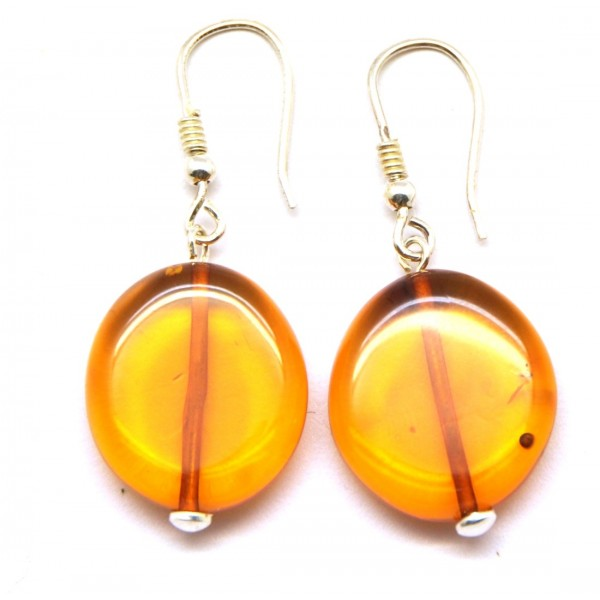 Button shape Baltic amber earrings-AE0111