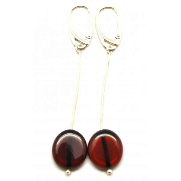 Button shape long cherry Baltic amber earrings-AE0153