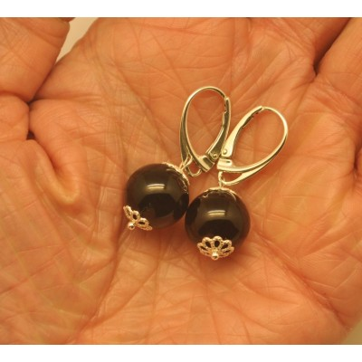 Cherry round  Baltic amber earrings