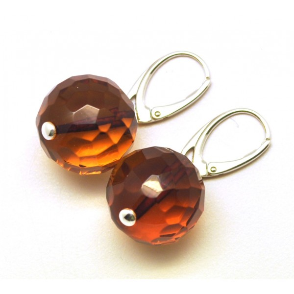 Cognac faceted round Baltic amber earrings-AE0200