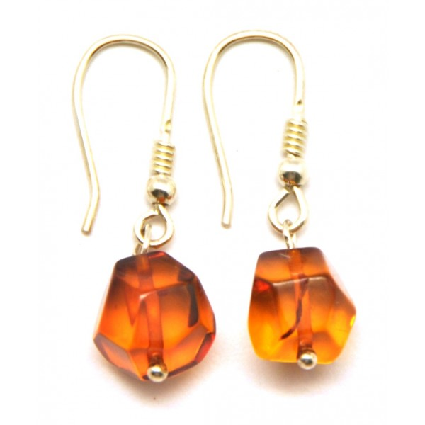 Faceted Baltic amber earrings-AE0121