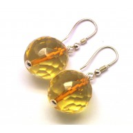 Lemon faceted round Baltic amber earrings-AE0301