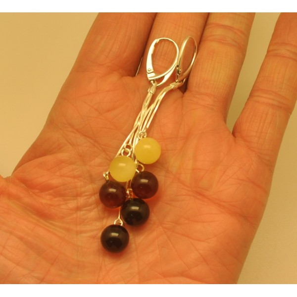 Long Baltic amber round beads earrings-AE0266