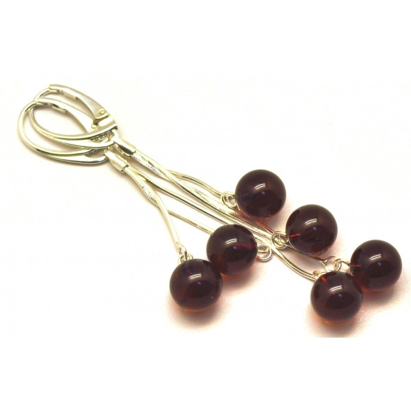 Long Baltic amber round beads earrings-AE0288