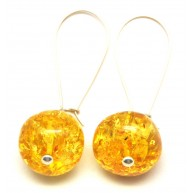 Long Baroque beads Baltic amber earrings