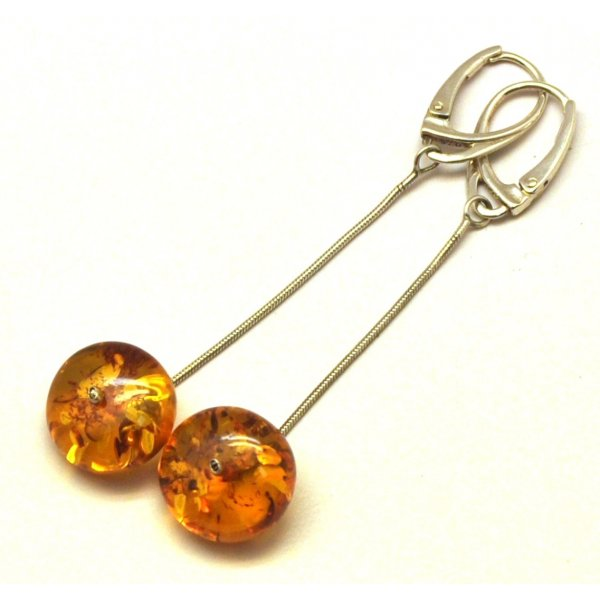 Long cognac Baltic amber earrings-AE0199