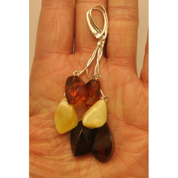 Long faceted Baltic amber earrings-AE0268
