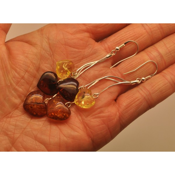 Long heart shape amber earrings-AE0277