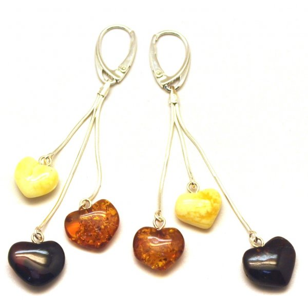Long heart shape amber earrings-AE0283