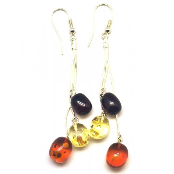 Long olive shape amber earrings-AE0247