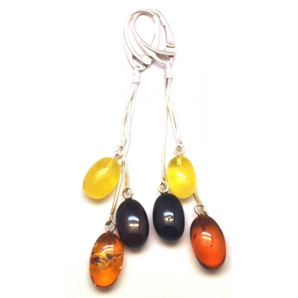 Long olive shape amber earrings-AE0285