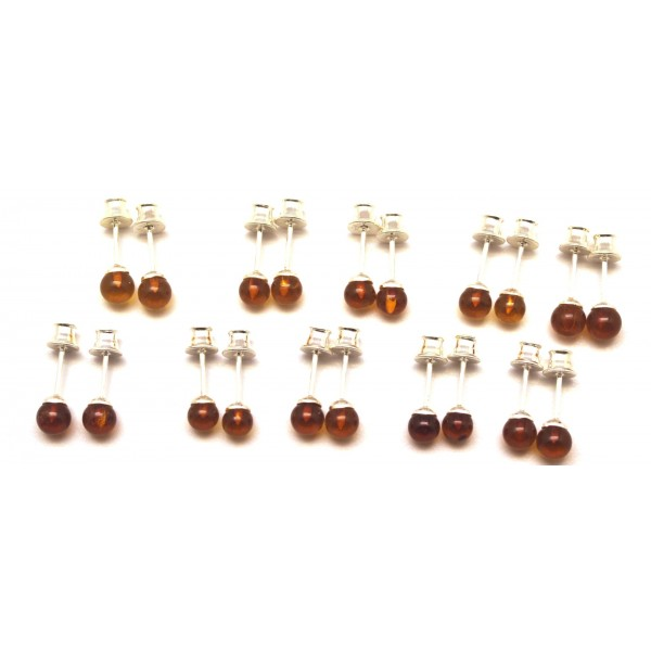 Lot of 10 round beads Baltic amber earrings-AE0279