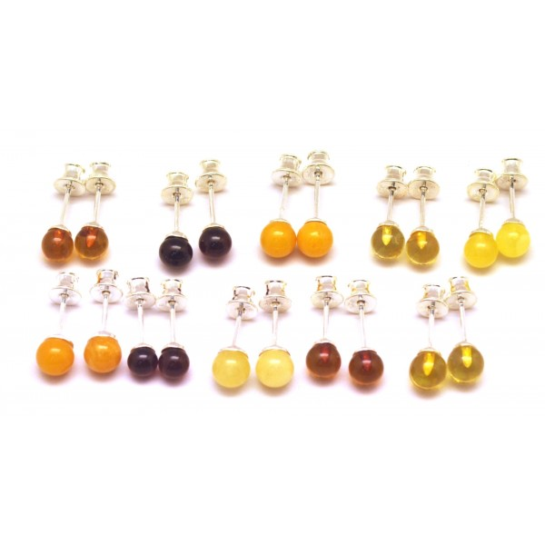 Lot of 10 round beads Baltic amber earrings-AE0274