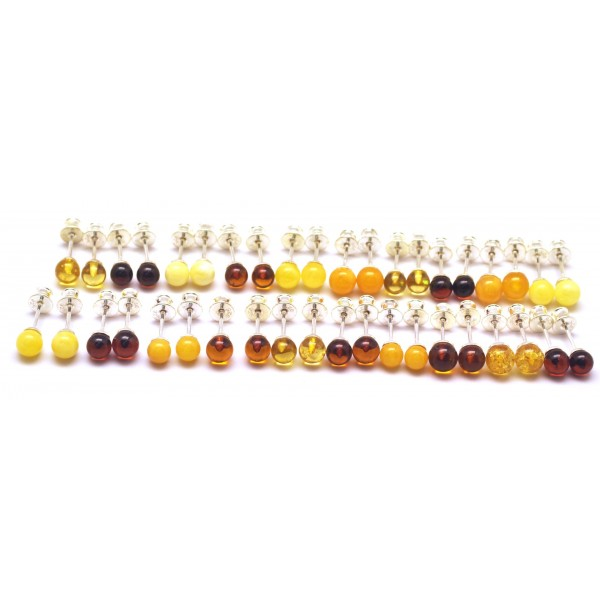 Lot of 20 round beads Baltic amber earrings-AE0307