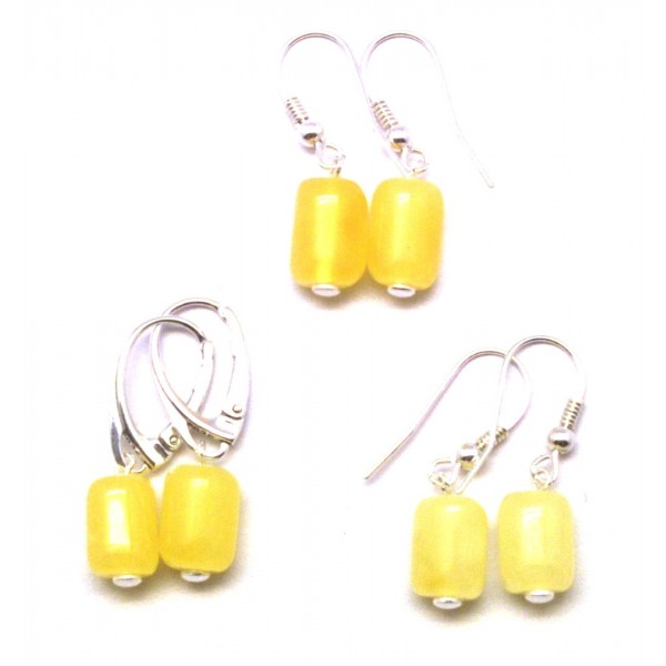 Lot of 3 barrel shape Baltic amber earrings-AE0297
