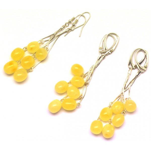 Lot of 3 long olive shape amber earrings-AE0265