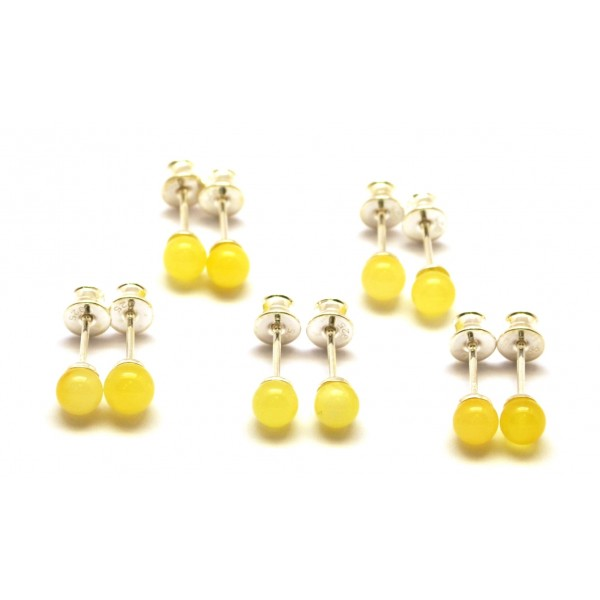 Lot of 5 round beads Baltic amber earrings-AE0181