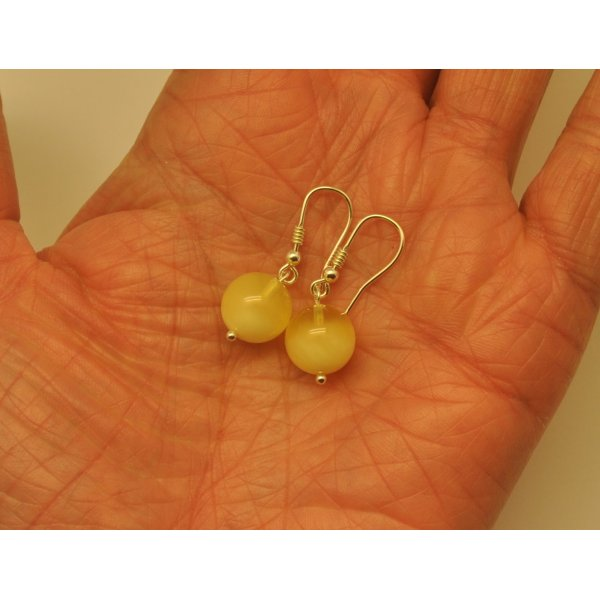 Natural round Baltic amber earrings-AE0229