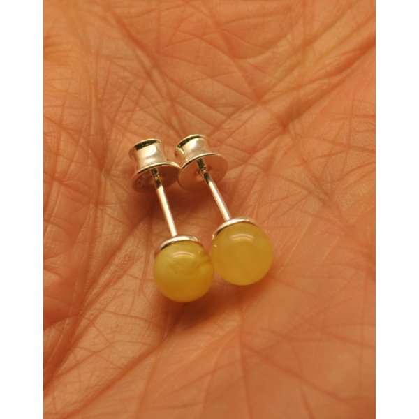 Natural round Baltic amber earrings-AE0267