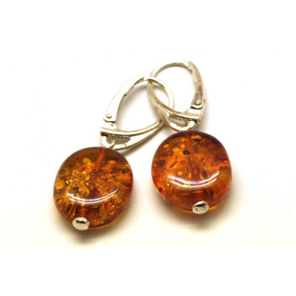 Round button shape Baltic amber earrings-AE0079