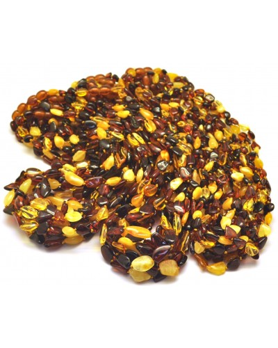 Lot of 30 multicolor Baltic amber beans necklaces