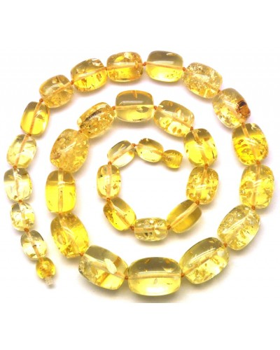 Barrel shape lemon  Baltic amber necklace