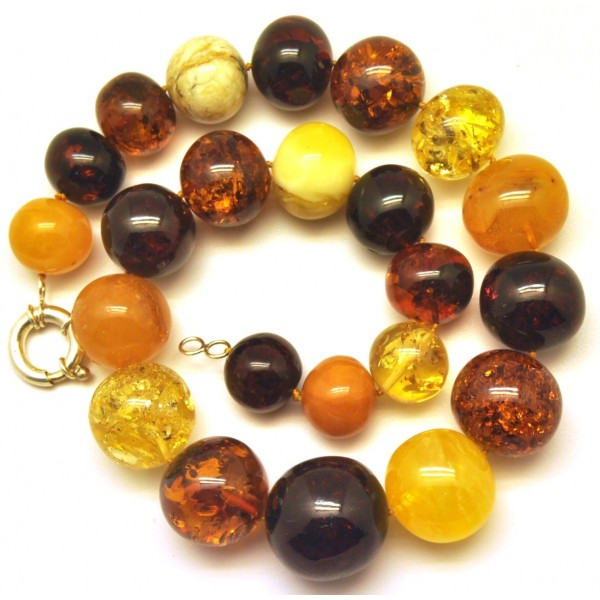 Amber necklaces | Massive multicolor baroque beads Baltic amber necklace 126 g.
