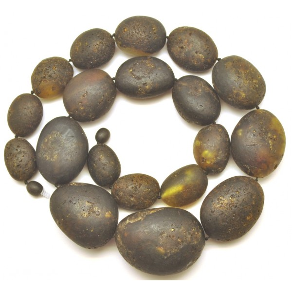 Amber necklaces | Big beads raw healing Baltic amber necklace 112 g.