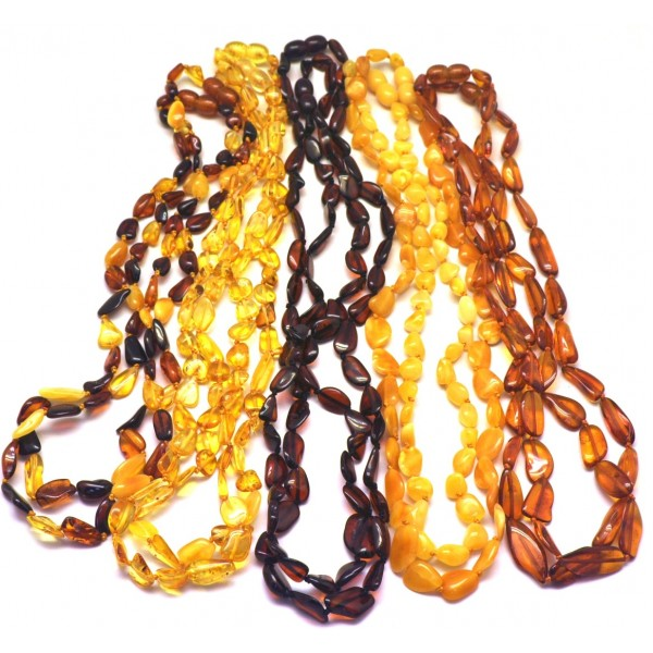 Amber necklaces | Lot of 10 Baltic amber beans necklaces