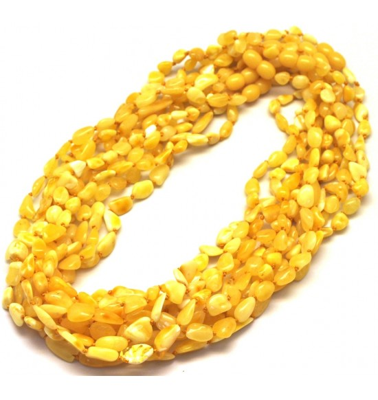 Lot of 10 yellow Baltic amber beans necklaces
