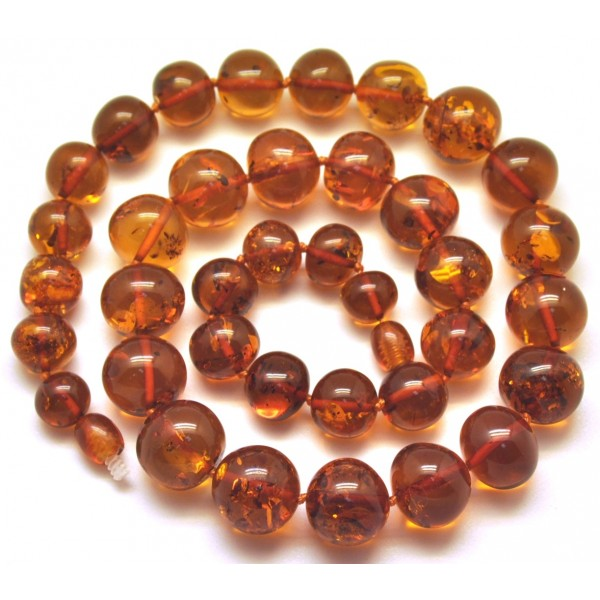 Amber necklaces | Baroque beads short cognac Baltic amber necklace