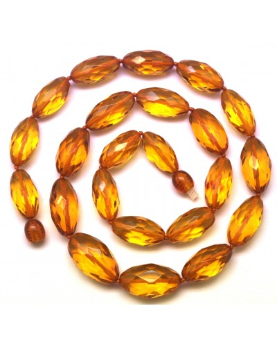 Natural faceted amber olive necklace