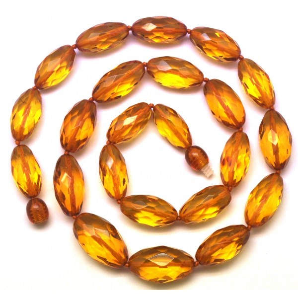 Amber necklaces | Natural faceted amber olive necklace