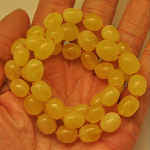 Amber necklaces | Yellow Baltic amber olive necklace
