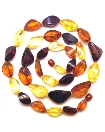 Multicolor  faceted  long Baltic amber necklace