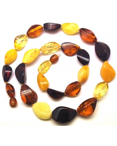 Multicolor  faceted  short Baltic amber necklace