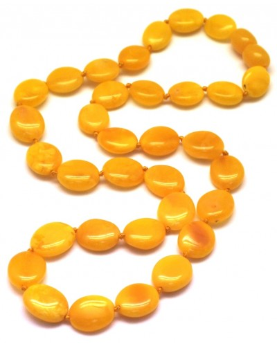 Antique button shape  Baltic amber short necklace