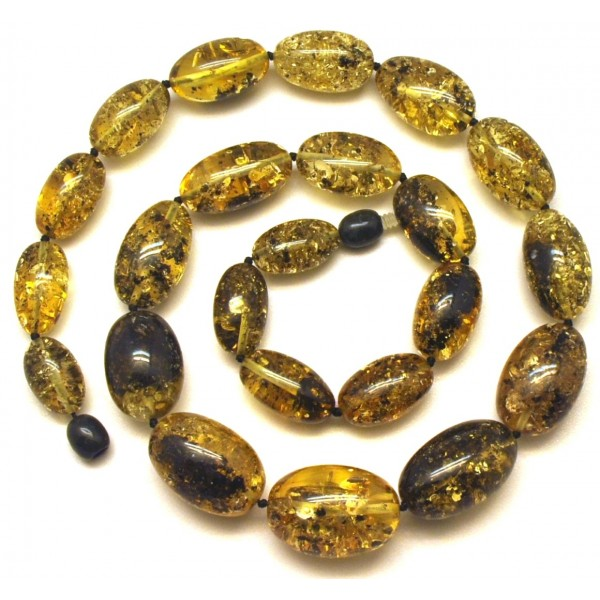 Green olive shape amber necklace