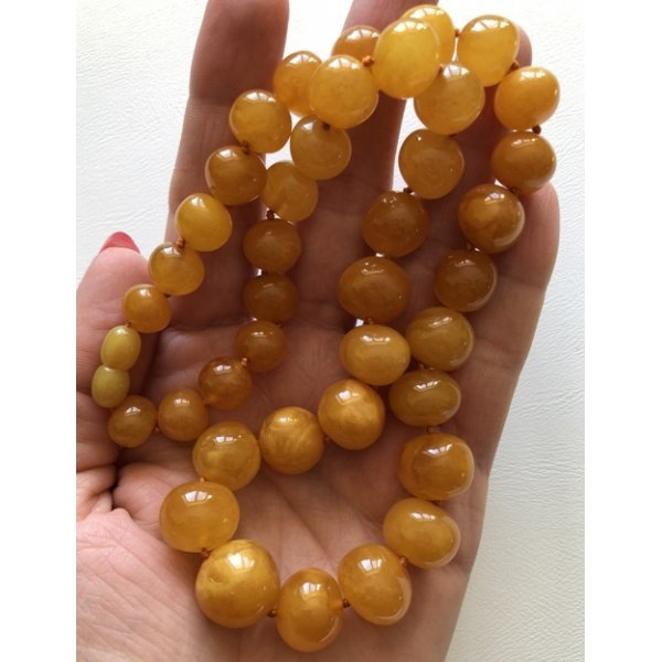 Antique color baroque beads amber necklace-AN2077
