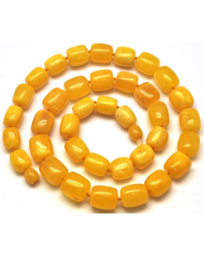 Barrel shape antique Baltic amber necklace-AN2089