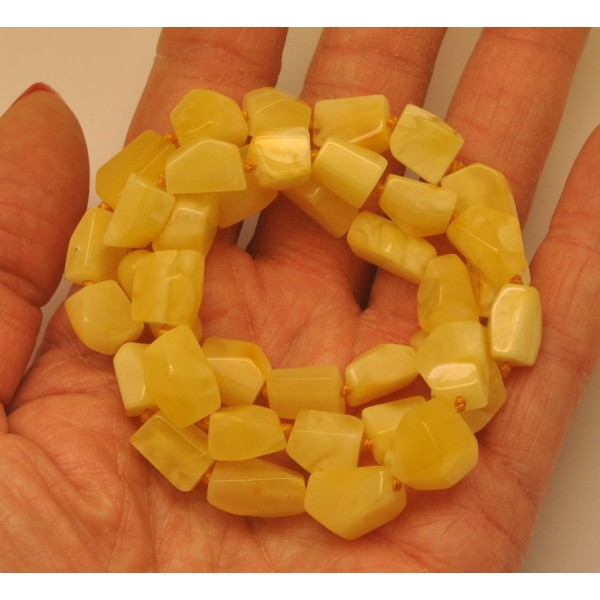 Faceted Baltic amber yellow necklace-AN2113