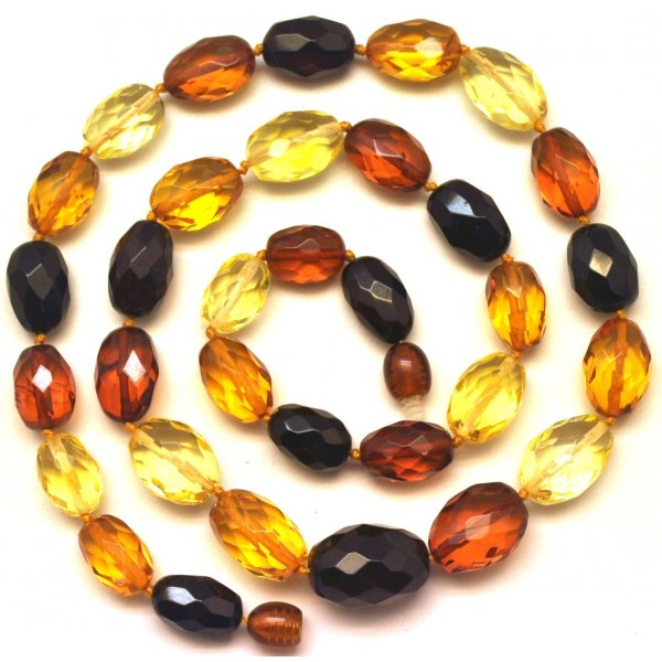 Multicolor faceted Baltic amber necklace -AN2093