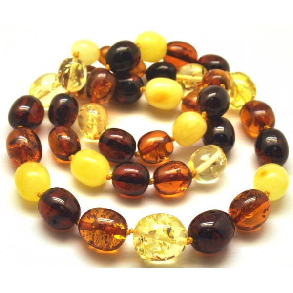 Olive shape amber necklace-AN2107